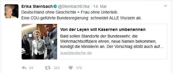 Tweet Erika Steinbach Frau ohne Unterleib